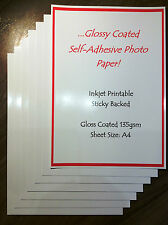 20 sheets A4 135gsm GLOSSY GLOSS SELF ADHESIVE PAPER INKJET PRINTABLE STICKYBACK