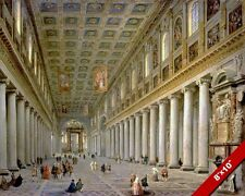 INTERIOR SANTA MARIA MAGGIORE CATHEDRAL PAINTING ROME ITALY ART CANVAS PRINT