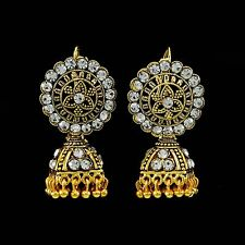Ethnic Traditional Indian CZ Gold Plated Jhumka Earrings Set Bollywood Jewelry