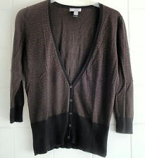 Mango MNG Suit Black & Brown Stripes V Neck Long Sleeve Cardigan Top Size M