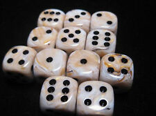 Chessex Dice d6 Sets 16mm Marble Ivory w/ Black Six Sided Die 12 Set CHX 27602
