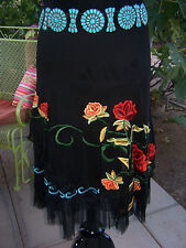 "NWT~$300~Western Gypsy Lace Embroidered ""Multi Rose"" Skirt~M~Vintage Collection"