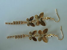 22k gold plated CZ dangle earring (butterfly) Womens quality fashion Jewellery