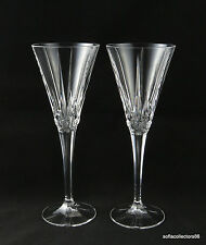Crystal Champagne Flutes with Vertical Cuts and Roses / Rosettes (pair)