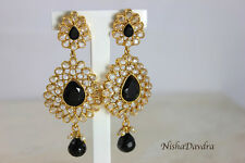 Elegant Earrings Black Kundan Drop Chandalier Gold Pierced