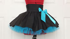 NEW HANDMADE GIRLS BLACK TURQUOISE TUTU MINI SKIRT IRISH DANCE SCHOOL 10 - 12 YR