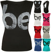 Ladies Be Happy Smiley Face Back Print Baggy Open Sleeve Womens Vest Top 8 - 14