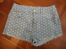 TOPSHOP MOTO WOMENS BLUE AND WHITE POLKA DOT HOT PANT DENIM SHORTS W30