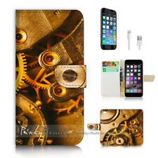 iPhone 7 (4.7') Flip Wallet Case Cover P2336 Clock Gear