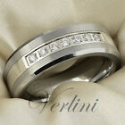 Tungsten Ring Wedding Band for Men & Women Diamond Simulated Stones Size 6-13