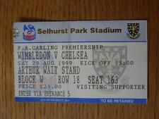 28/08/1999 Ticket: Wimbledon v Chelsea  (folded)