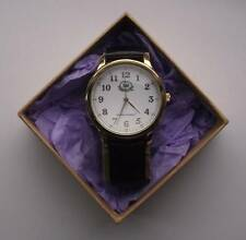 GENTS ORIENT EXPRESS QUARTZ WRIST WATCH GOLD PLATED. REAL LEATHER STRAP - GIFT