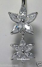 14k White Gold STAR FLOWER Marquise CZ Belly Naval Ring