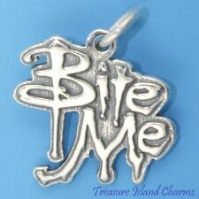 BITE ME VAMPIRE HALLOWEEN .925 Solid Sterling Silver Charm Pendant MADE IN USA