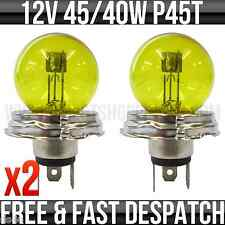 12v 45/40w P45T Yellow Headlight / Headlamp Bulb P411 Pack of 2