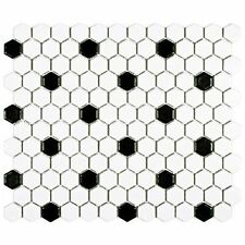 "SomerTile FDXMHMWD Retro Hex Porcelain Floor and Wall Tile, 10.25"" x 11.75"", Dot"