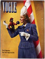 Vintage VOGUE MAGAZINE (3/15/40) PARIS Collections JOHN BARRYMORE Sub Card Incl.