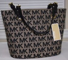 NEW MICHAEL KORS BLACK MK SIGNATURE GRAB BAG SHOULDER TOTE PURSE