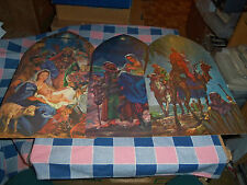 Set 3 Vintage Dennison Nativity Cut-Outs  Each 16 1/8 Inches High