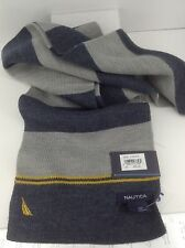 Men's Women's NAUTICA Long Blue Gray Winter Scarf - $55 MSRP - 15%