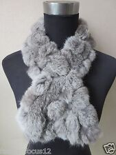 free shipping /This year latest style real handmade rabbit fur scarf/ gray