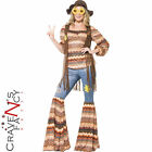 Harmony Hippie Costume Adult 60s Psychedlic Hippy Fancy Dress Flares Outfit New