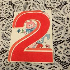 Vintage Greeting Card Birthday 2nd Number Bunny Rabbit