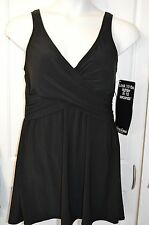 NWT Women's Black MIRACLESUIT SWIMDRESS Swimsuit Plus Size 22W Free Shipping