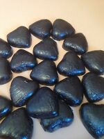 50 Navy wrapped solid belgian chocolate hearts/wedding favours/sweets