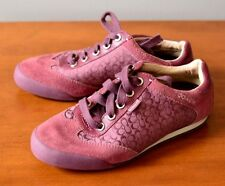 COACH Marcy Women's 6M Lace Up Small C Sneaker Purple Suede Fabric