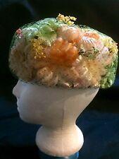 1950's Vintage Silk Floral Pillbox Flower Hat Authentic Age MINT !