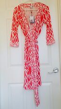 Diane von Furstenberg BandedJulian IKAT STAMP CORAL wrap dress 6, 8 or 14 $428