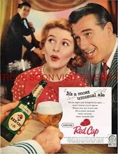 Original 1950s Carling Red Cap Ale Stand Up Double Bass 10x14 inch Ad
