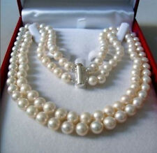 2 Rows 8-9MM AAA WHITE AKOYA SALTWATER PEARL NECKLACE 17-18""