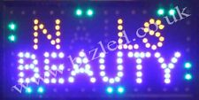 Flashing NAILS BEAUTY led new window Shop signs