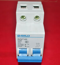 NEW DIN Dail 2P Overload Proetction Circuit Breaker 230/400VAC 25A DZ47-63 C25
