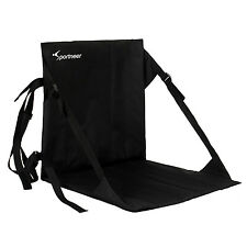 Black Stadium Bleacher Cushion Chair, Padded Folding Portable Sports Seat