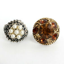 Lot of 2 Rings gold plated and silver tone with faux pearls and multi... Lot 34B