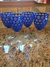 Pier One-Panal Blue Acrylic Wine Glasses Set Of 4