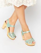 ANTHROPOLOGIE Swedish Hasbeens Braided Sky High Clogs Heels Mint 40 (9/9.5)