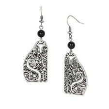 Laurel Burch Silver Elijah Cat Earrings 5048 $32.00/Each