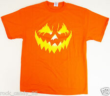Jack-O-Lantern T-shirt Halloween Scary Pumpkin Face Tee Adult LARGE Orange New
