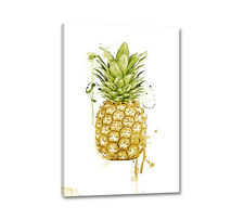 Leinwandbild Ananas 90x60cm Digital Aquarell Art Pineapple Wandbild Caro Art