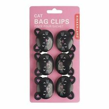 Kikkerland Black Cat / Kitty Bag Clips - Set of 6