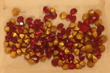 144 vintage ruby glass faceted machine cut point b rhinestones SS 41 8.7mm Czech