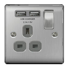 BG Nexus NBS21UG Satin Chrome Single Socket with USB Charger Ports Brushed Steel