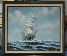 """Signed """"Fobis"""" OIL ON CANVAS SAILING SHIP AT SEA PAINTING Framed on Stretcher"""