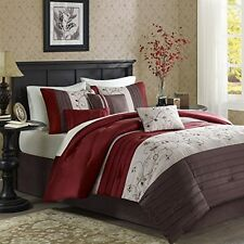 Madison Park Polyester Polyoni Solid Pieced 6pcs Duvet Set Full/Queen Red NEW
