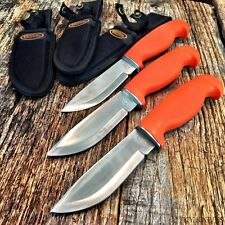 3 LOT Orange Hunters Choice Rubber Handle Hunting Knife w/Sheath BOWIE Tactical