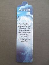 BOOKMARK NATASHA  Name Meaning New Gift BIRTHDAY CHRISTMAS Thankyou Present